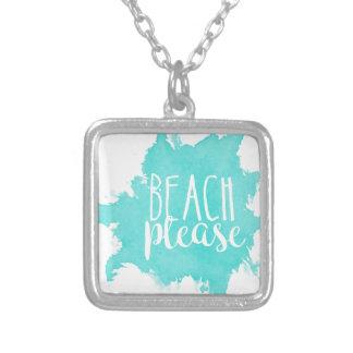 Colar Banhado A Prata Da praia branco por favor