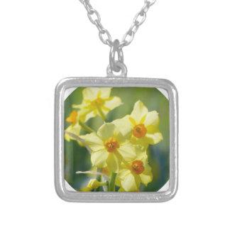 Colar Banhado A Prata Daffodils bonito, narciso 03.2_rd