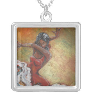 Colar Banhado A Prata Dançarino do Flamenco de Duende