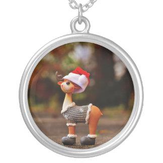 Colar Banhado A Prata Decorações da rena - rena do Natal