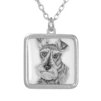 Colar Banhado A Prata Desenho da arte do cão do Schnauzer