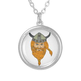 Colar Banhado A Prata Desenho da cabeça do guerreiro de Viking do
