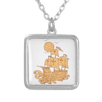 Colar Banhado A Prata Desenho da lua do navio de navigação de Caravel