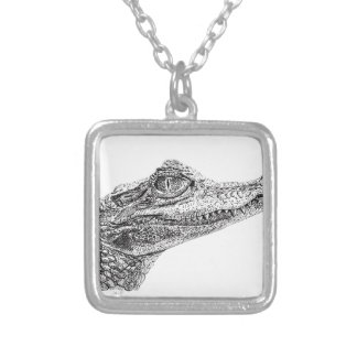 Colar Banhado A Prata Desenho da tinta do crocodilo do bebê