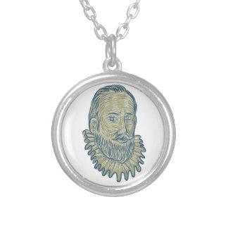 Colar Banhado A Prata Desenho do busto do senhor Walter Raleigh