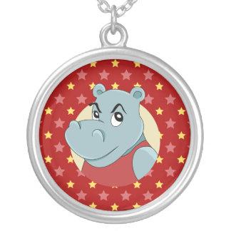 Colar Banhado A Prata Desenhos animados bonitos do hippopotamus