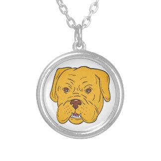 Colar Banhado A Prata Desenhos animados da cabeça de cão do Bordéus