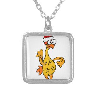 Colar Banhado A Prata Desenhos animados de borracha engraçados do Natal