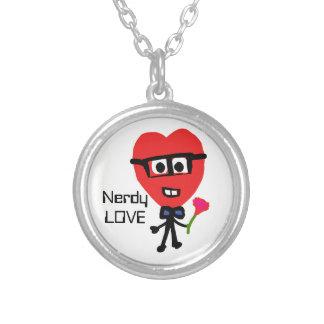 Colar Banhado A Prata Desenhos animados Nerdy do coração do amor com
