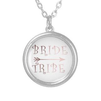 Colar Banhado A Prata design cor-de-rosa do tribo da noiva da folha de