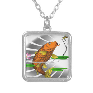 Colar Banhado A Prata Design da lagoa de peixes de Koi do japonês