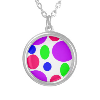 Colar Banhado A Prata Design de néon dos círculos