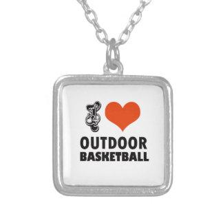 Colar Banhado A Prata design do basquetebol