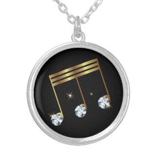 Colar Banhado A Prata Design do diamante do cristal de rocha da nota