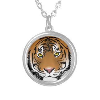 Colar Banhado A Prata Design do impressão da cabeça do tigre