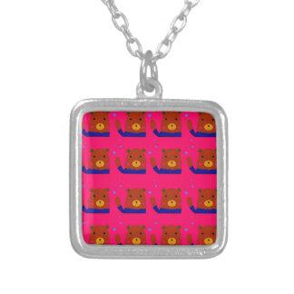 Colar Banhado A Prata Design do rosa dos ursinhos