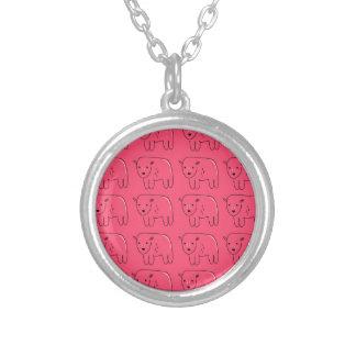 Colar Banhado A Prata Design doce cor-de-rosa pintado ursinhos