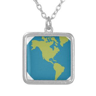 Colar Banhado A Prata Design dos continentes do mundo da terra do