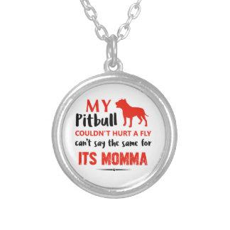 Colar Banhado A Prata Design engraçado das mamães do pitbull