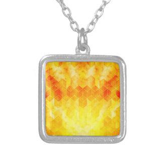 Colar Banhado A Prata Design geométrico do cubo do Sunburst amarelo