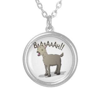 Colar Banhado A Prata Design gritando do macarronete do Doodle da cabra