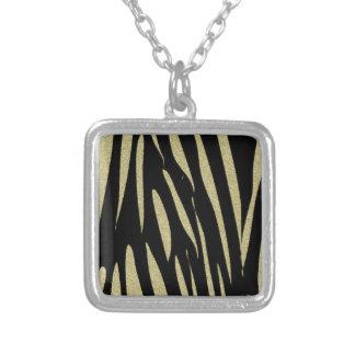 Colar Banhado A Prata Design selvagem do safari do impressão das listras