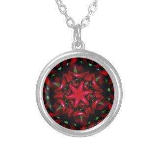Colar Banhado A Prata design verde e vermelho da flor do kaleido