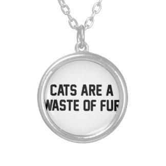 Colar Banhado A Prata Desperdício dos gatos da pele