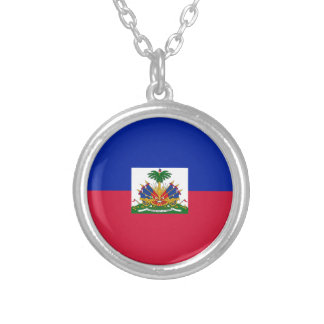 Colar Banhado A Prata d'Haïti de Drapeau - bandeira de Haiti