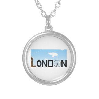 Colar Banhado A Prata Dia da skyline de Londres