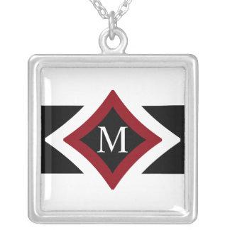 Colar Banhado A Prata Diamante à moda preto, branco & vermelho monograma