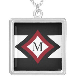 Colar Banhado A Prata Diamante à moda preto, vermelho & branco monograma