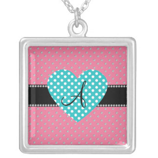 Colar Banhado A Prata Diamantes cor-de-rosa do monograma