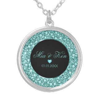Colar Banhado A Prata Diamantes e coração de turquesa - salvar a data