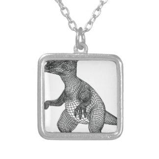 Colar Banhado A Prata dinossauro