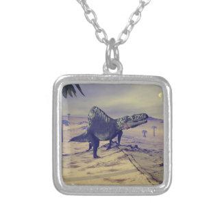 Colar Banhado A Prata Dinossauro de Arizonasaurus - 3D rendem