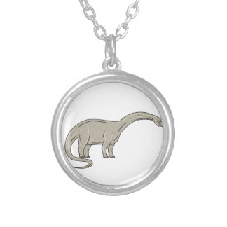 Colar Banhado A Prata Dinossauro do Brontosaurus que olha abaixo da mono