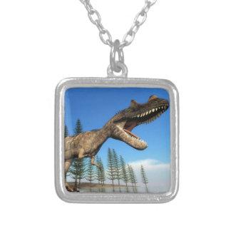 Colar Banhado A Prata Dinossauro do Ceratosaurus na linha costeira - 3D