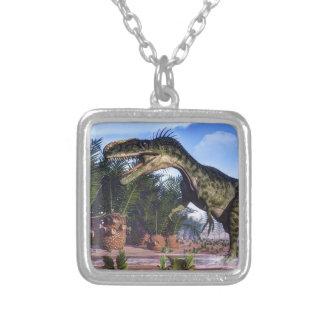 Colar Banhado A Prata Dinossauro do Monolophosaurus - 3D rendem