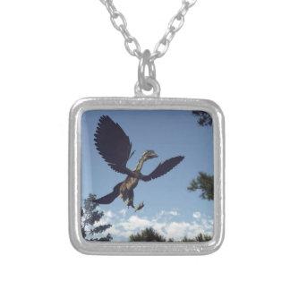 Colar Banhado A Prata Dinossauros dos pássaros do Archaeopteryx que voam