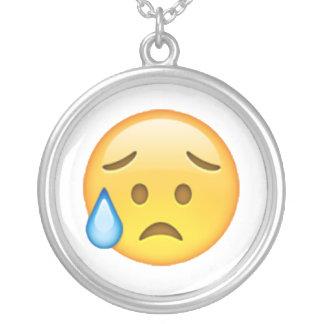 Colar Banhado A Prata Disappointed mas aliviado - Emoji