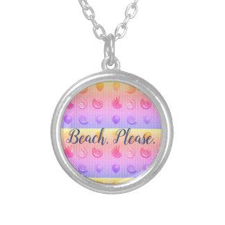 Colar Banhado A Prata Do Seashell da praia pendente brilhante