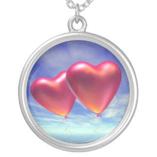 Colar Banhado A Prata Dois corações