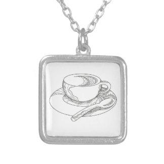 Colar Banhado A Prata Doodle da chávena de café
