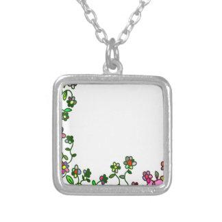 Colar Banhado A Prata doodle floral da flor dos desenhos animados da