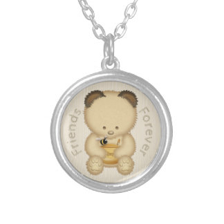 Colar Banhado A Prata Dos amigos urso e abelha de mel bonito para sempre