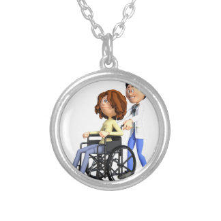 Colar Banhado A Prata Doutor Wheeling Paciente Cadeira de rodas dos