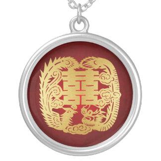Colar Banhado A Prata Dragão & Phoenix - símbolo dobro da felicidade
