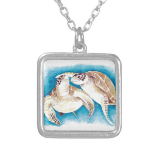 Colar Banhado A Prata Duas tartarugas de mar