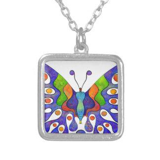 Colar Banhado A Prata Elenissina - borboleta colorida